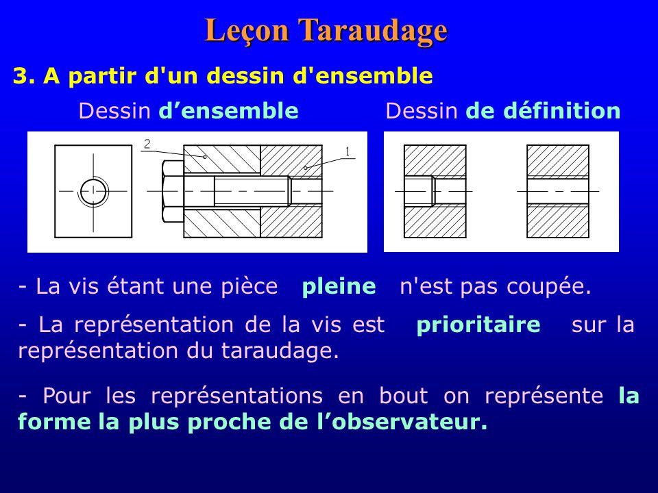 3. A partir d'un dessin d'ensemble Dessin densembleDessin de définition - La vis étant une pièce pleine n'est pas coupée. - La représentation de la vi