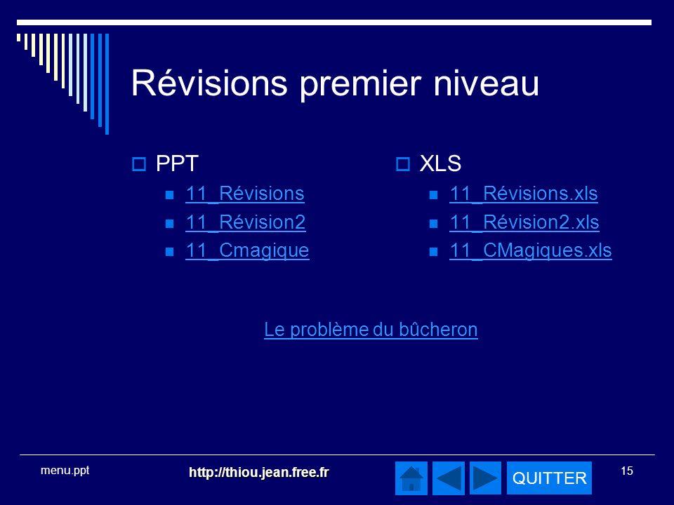 QUITTER http://thiou.jean.free.fr 15 menu.ppt Révisions premier niveau PPT 11_Révisions 11_Révision2 11_Cmagique XLS 11_Révisions.xls 11_Révision2.xls 11_CMagiques.xls Le problème du bûcheron