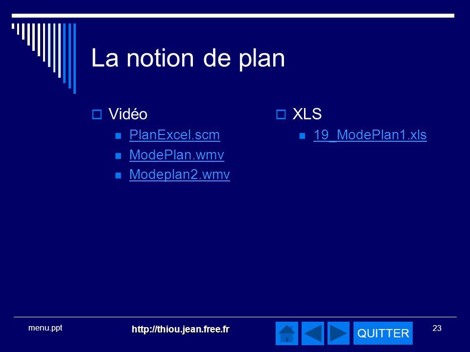QUITTER http://thiou.jean.free.fr 23 menu.ppt La notion de plan Vidéo PlanExcel.scm ModePlan.wmv Modeplan2.wmv XLS 19_ModePlan1.xls