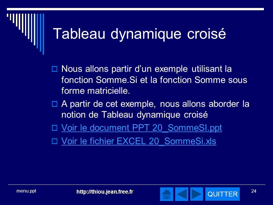 QUITTER http://thiou.jean.free.fr 24 menu.ppt Tableau dynamique croisé Nous allons partir dun exemple utilisant la fonction Somme.Si et la fonction Somme sous forme matricielle.