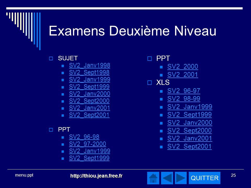 QUITTER http://thiou.jean.free.fr 25 menu.ppt Examens Deuxième Niveau SUJET SV2_Janv1998 SV2_Sept1998 SV2_Janv1999 SV2_Sept1999 SV2_Janv2000 SV2_Sept2000 SV2_Janv2001 SV2_Sept2001 PPT SV2_96-98 SV2_97-2000 SV2_Janv1999 SV2_Sept1999 PPT SV2_2000 SV2_2001 XLS SV2_96-97 SV2_98-99 SV2_Janv1999 SV2_Sept1999 SV2_Janv2000 SV2_Sept2000 SV2_Janv2001 SV2_Sept2001