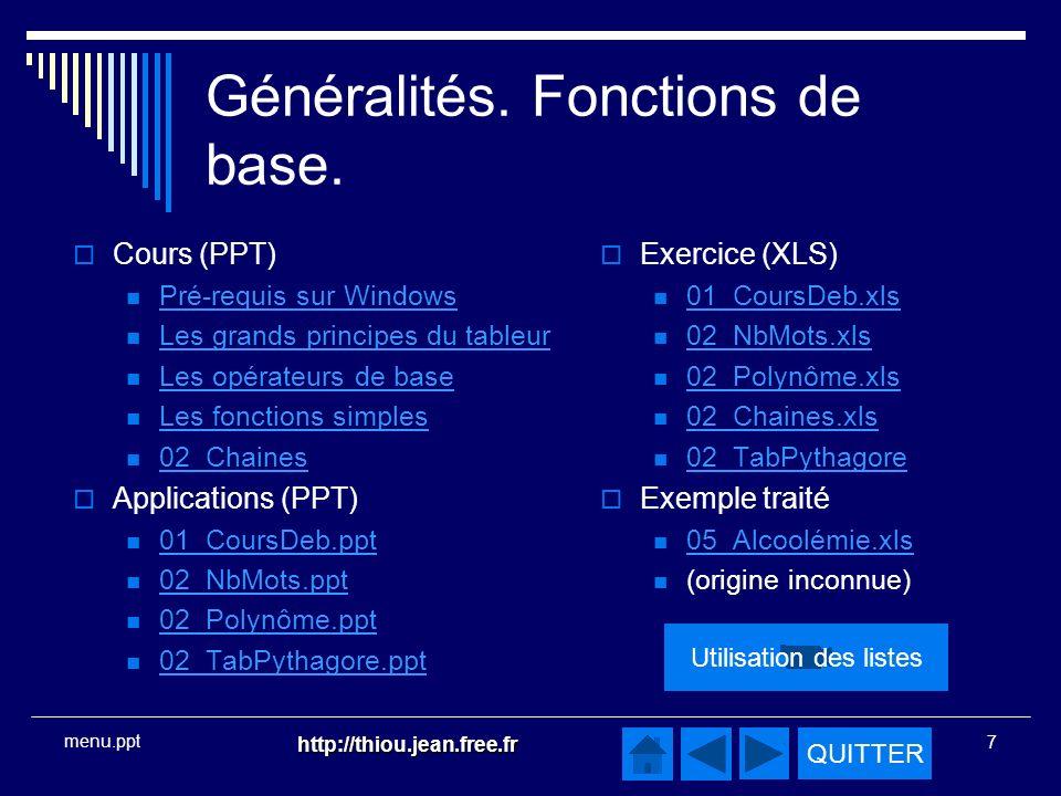 QUITTER http://thiou.jean.free.fr 7 menu.ppt Généralités.