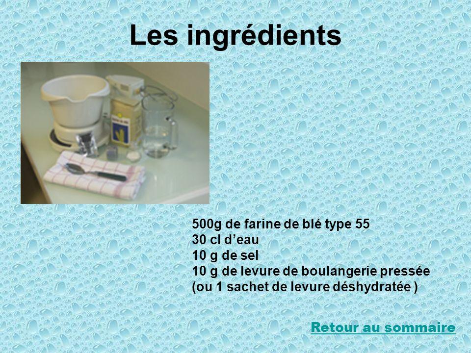 Les ingrédients 500g de farine de blé type 55 30 cl deau 10 g de sel 10 g de levure de boulangerie pressée (ou 1 sachet de levure déshydratée ) Retour
