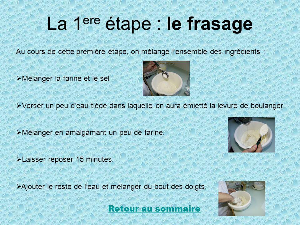 La 1 ere étape : le frasage Au cours de cette première étape, on mélange lensemble des ingrédients : Mélanger la farine et le sel Verser un peu deau t