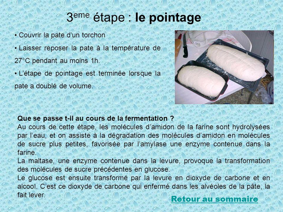 3 eme étape : le pointage Couvrir la pate dun torchon Laisser reposer la pate à la température de 27°C pendant au moins 1h. Létape de pointage est ter