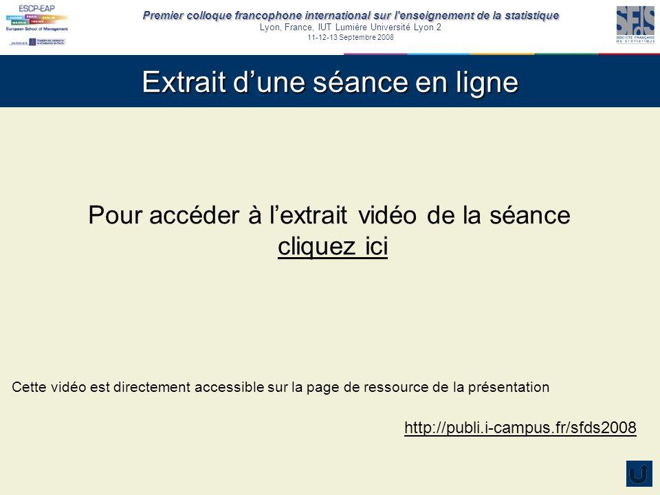 Premier colloque francophone international sur l'enseignement de la statistique Lyon, France, IUT Lumière Université Lyon 2 11-12-13 Septembre 2008 Ex
