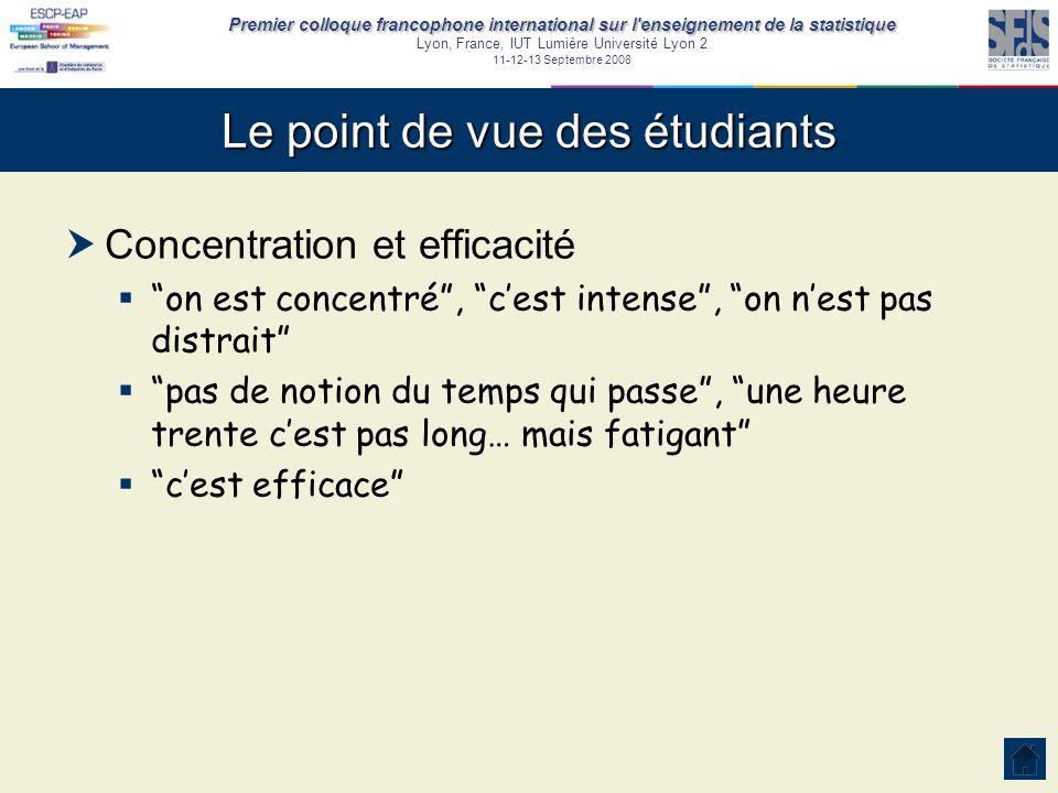 Premier colloque francophone international sur l'enseignement de la statistique Lyon, France, IUT Lumière Université Lyon 2 11-12-13 Septembre 2008 Le