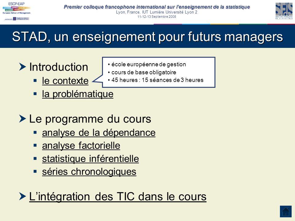 Premier colloque francophone international sur l'enseignement de la statistique Lyon, France, IUT Lumière Université Lyon 2 11-12-13 Septembre 2008 ST