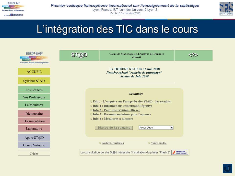 Premier colloque francophone international sur l enseignement de la statistique Lyon, France, IUT Lumière Université Lyon 2 11-12-13 Septembre 2008 Lintégration des TIC dans le cours Lamphithéâtre