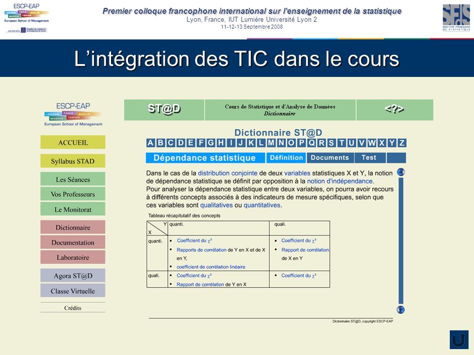 Premier colloque francophone international sur l enseignement de la statistique Lyon, France, IUT Lumière Université Lyon 2 11-12-13 Septembre 2008 Lintégration des TIC dans le cours Le laboratoire