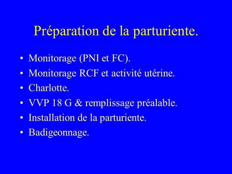 Préparation de la parturiente. Monitorage (PNI et FC). Monitorage RCF et activité utérine. Charlotte. VVP 18 G & remplissage préalable. Installation d