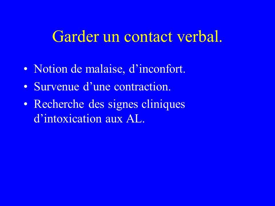 Garder un contact verbal. Notion de malaise, dinconfort. Survenue dune contraction. Recherche des signes cliniques dintoxication aux AL.