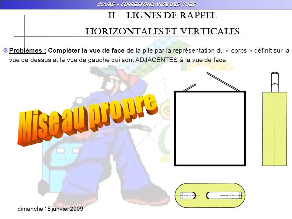 COURS – CORRESPONDANCE DES VUES dimanche 18 janvier 2009 Ii – LIGNES DE RAPPEL HORIZONTALES ET VERTICALES Problèmes : Compléter la vue de face de la p