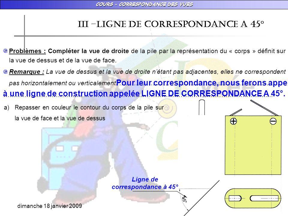 COURS – CORRESPONDANCE DES VUES dimanche 18 janvier 2009 IiI –LIGNE DE CORRESPONDANCE A 45° Problèmes : Compléter la vue de droite de la pile par la r