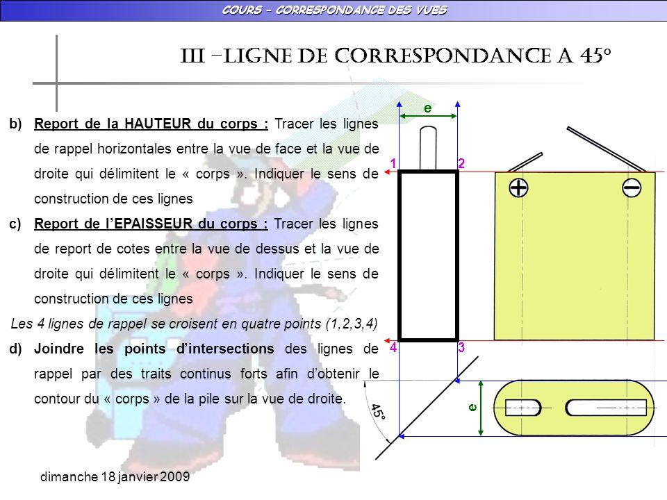 COURS – CORRESPONDANCE DES VUES dimanche 18 janvier 2009 IiI –LIGNE DE CORRESPONDANCE A 45° X