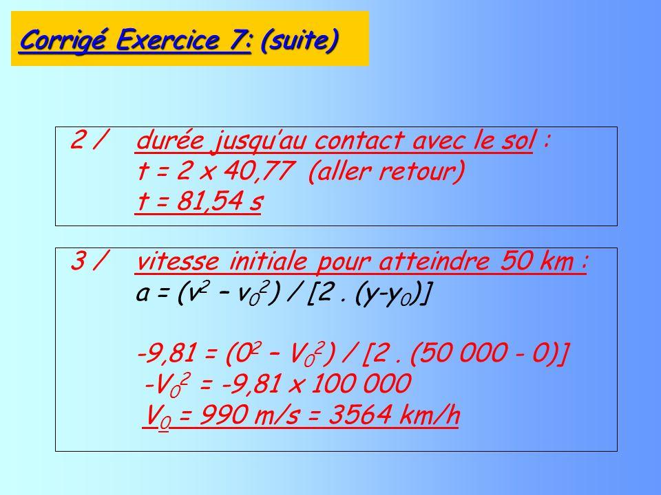 2 / durée jusquau contact avec le sol : t = 2 x 40,77 (aller retour) t = 81,54 s 3 / vitesse initiale pour atteindre 50 km : a = (v 2 – v 0 2 ) / [2.