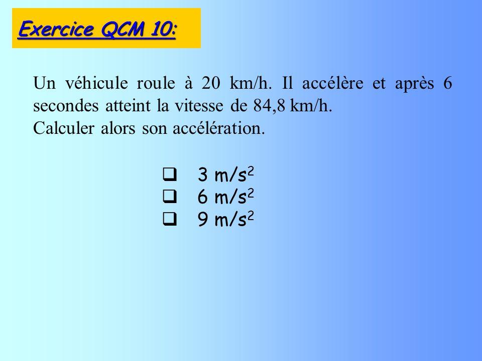 3 m/s 2 6 m/s 2 9 m/s 2 Un véhicule roule à 20 km/h.