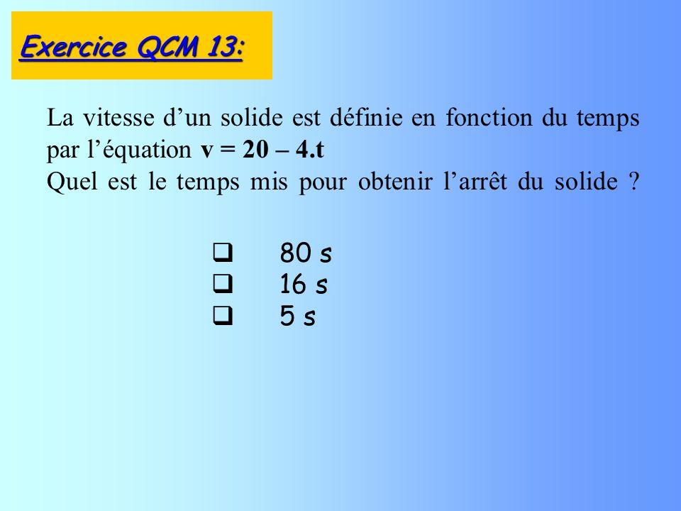 80 s 16 s 5 s La vitesse dun solide est définie en fonction du temps par léquation v = 20 – 4.t Quel est le temps mis pour obtenir larrêt du solide ?