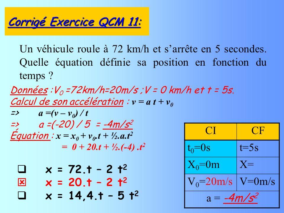x = 72.t – 2 t 2 x = 20.t – 2 t 2 x = 14,4.t – 5 t 2 Un véhicule roule à 72 km/h et sarrête en 5 secondes. Quelle équation définie sa position en fonc