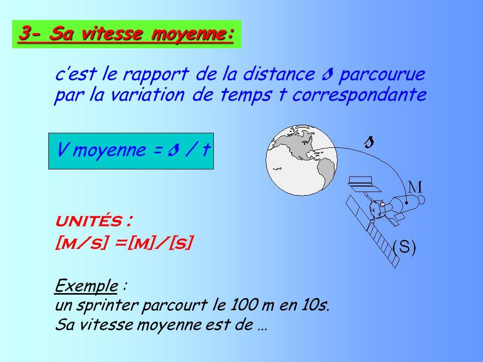 cest le rapport de la distance s parcourue par la variation de temps t correspondante V moyenne = s / t unités : [m/s] =[m]/[s] Exemple : un sprinter parcourt le 100 m en 10s.