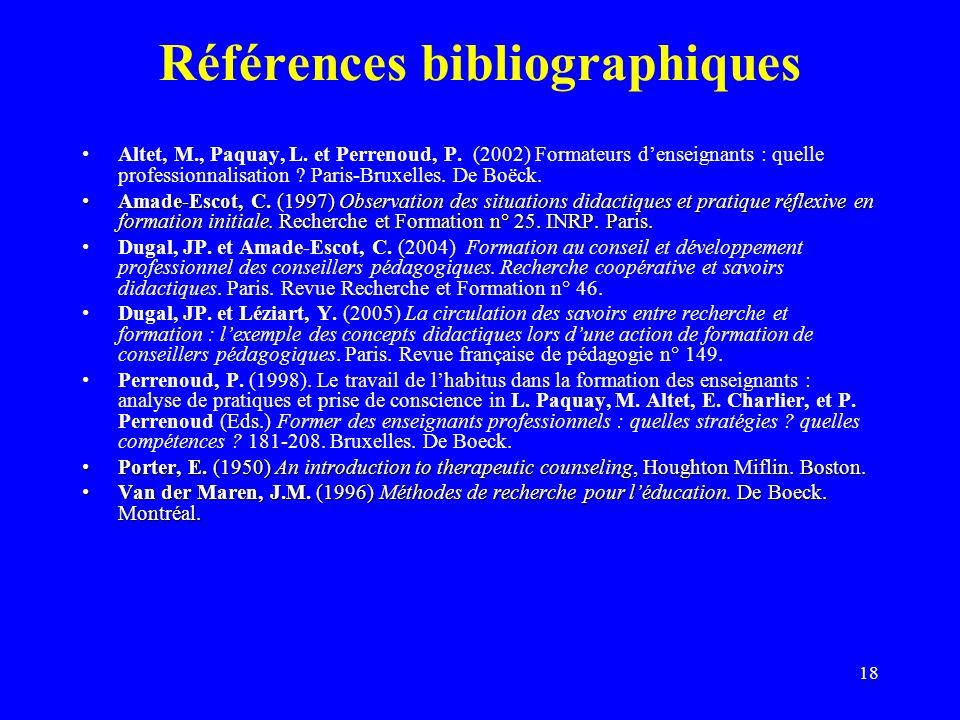 18 Références bibliographiques Altet, M., Paquay, L.
