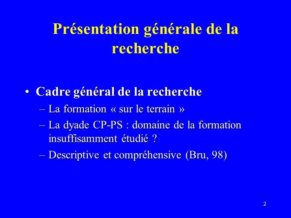 2 Présentation générale de la recherche Cadre général de la rechercheCadre général de la recherche –La formation « sur le terrain » –La dyade CP-PS : domaine de la formation insuffisamment étudié .