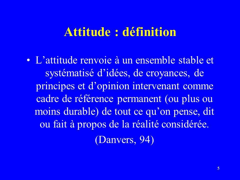 5 Attitude : définition Lattitude renvoie à un ensemble stable et systématisé didées, de croyances, de principes et dopinion intervenant comme cadre de référence permanent (ou plus ou moins durable) de tout ce quon pense, dit ou fait à propos de la réalité considérée.
