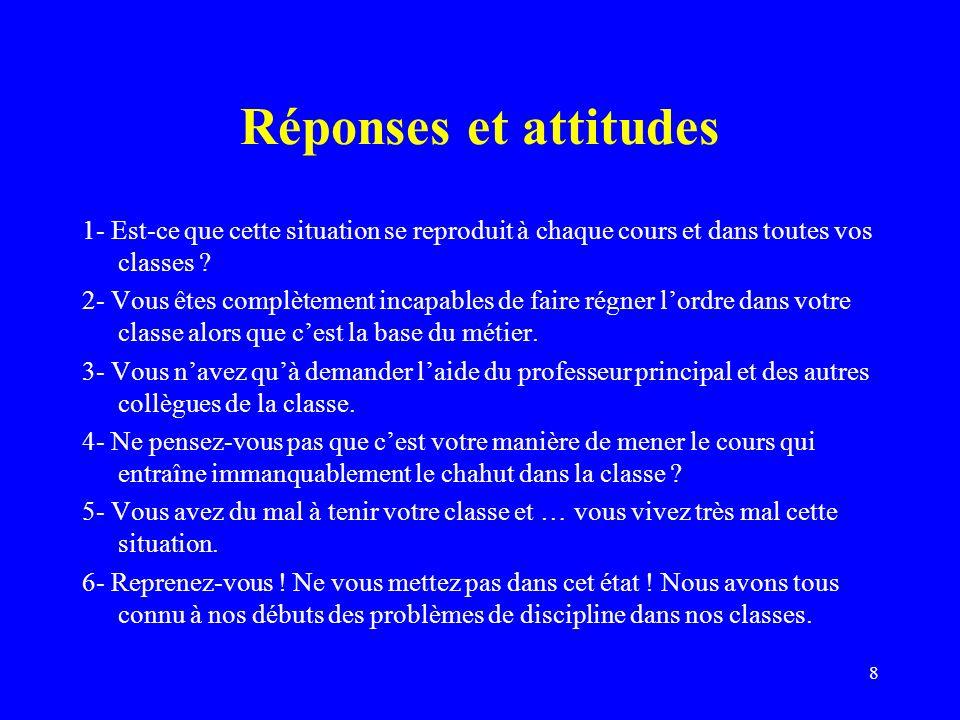 8 Réponses et attitudes 1- Est-ce que cette situation se reproduit à chaque cours et dans toutes vos classes .