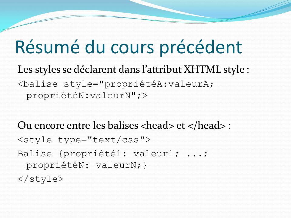 Résumé du cours précédent Les styles se déclarent dans lattribut XHTML style : Ou encore entre les balises et : Balise {propriété1: valeur1;...; propriétéN: valeurN;}