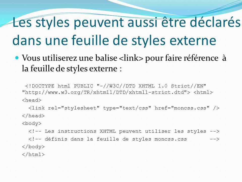 Les styles peuvent aussi être déclarés dans une feuille de styles externe Vous utiliserez une balise pour faire référence à la feuille de styles externe :