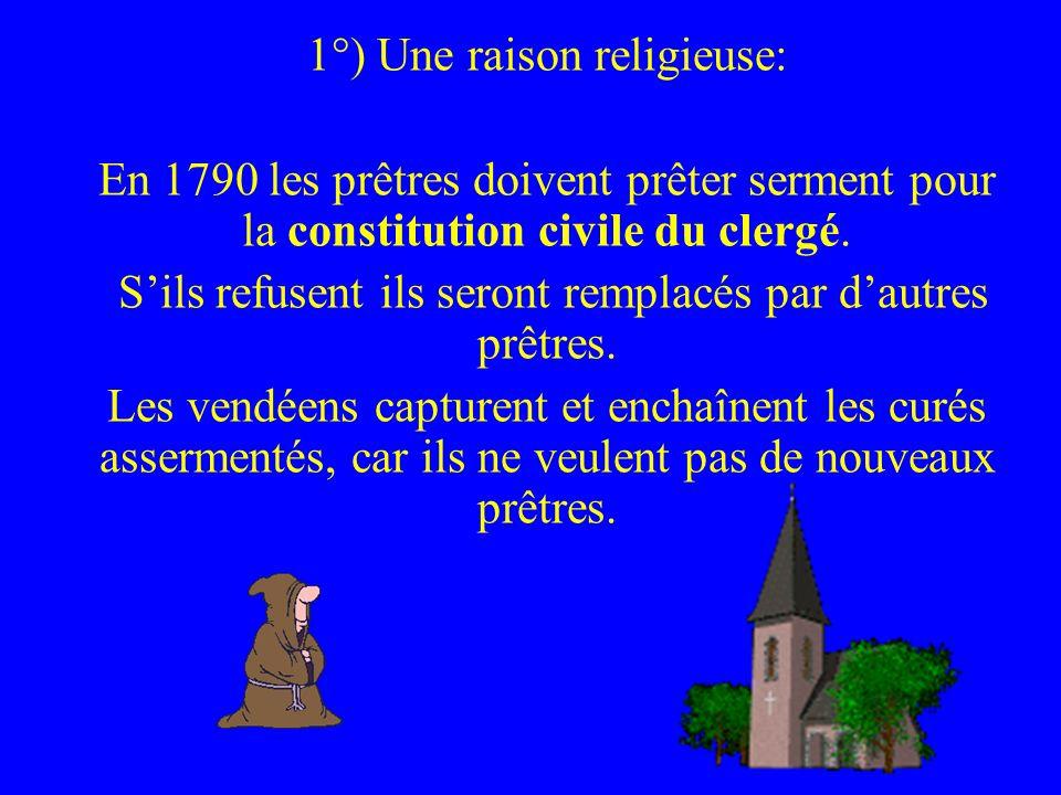 1°) Une raison religieuse: En 1790 les prêtres doivent prêter serment pour la constitution civile du clergé. Sils refusent ils seront remplacés par da