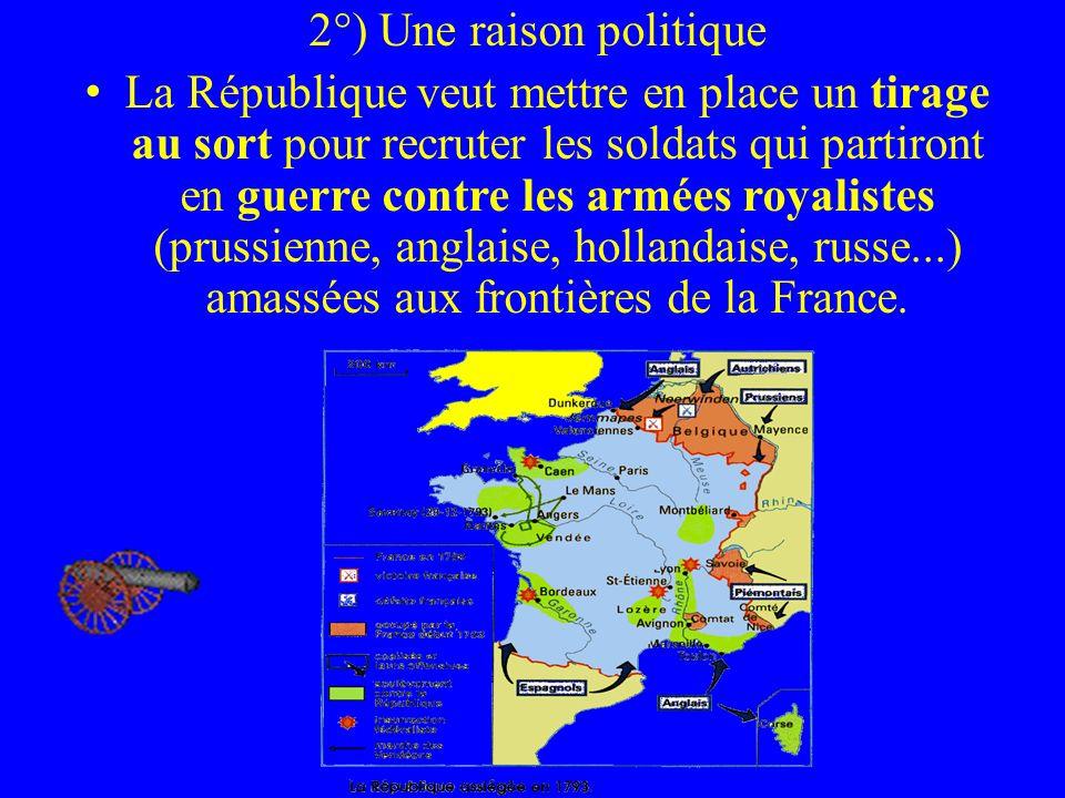 2°) Une raison politique La République veut mettre en place un tirage au sort pour recruter les soldats qui partiront en guerre contre les armées roya