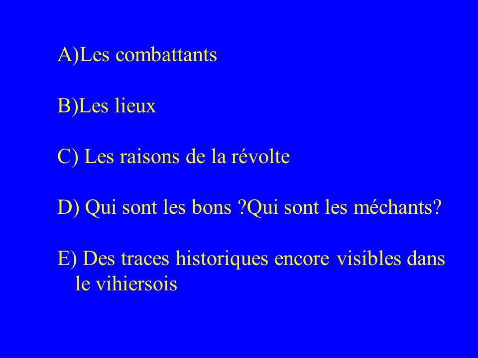 A)Les combattants B)Les lieux C) Les raisons de la révolte D) Qui sont les bons ?Qui sont les méchants? E) Des traces historiques encore visibles dans