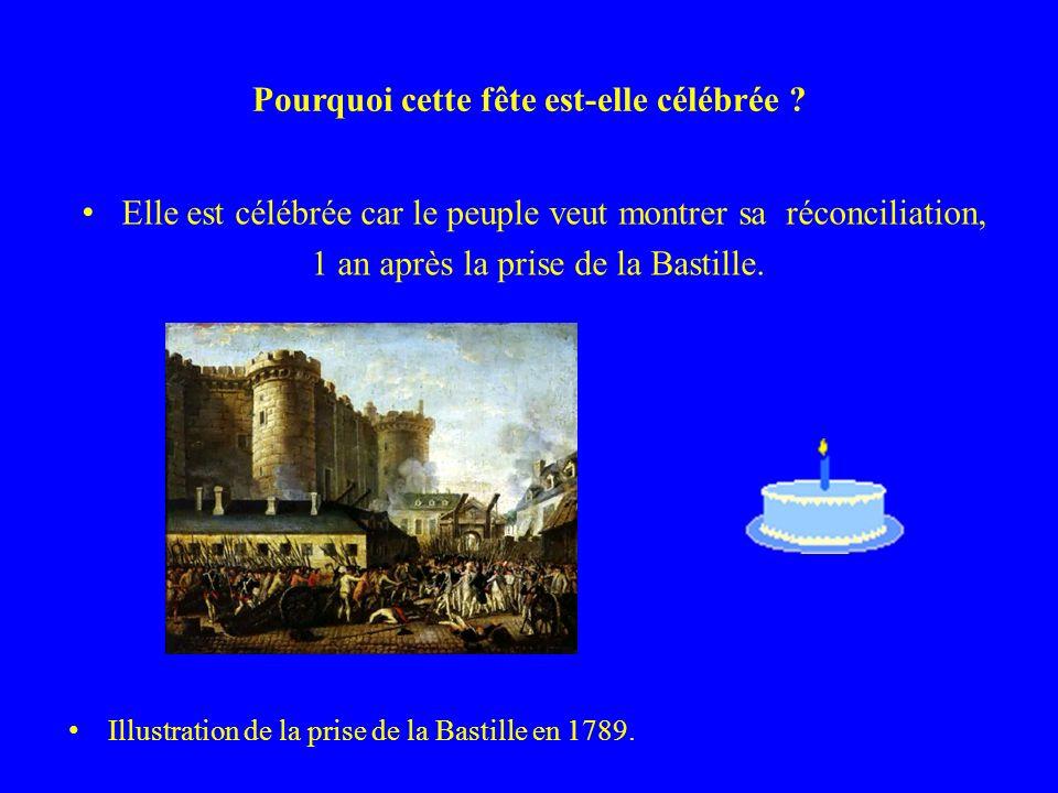 Pourquoi cette fête est-elle célébrée ? Elle est célébrée car le peuple veut montrer sa réconciliation, 1 an après la prise de la Bastille. Illustrati