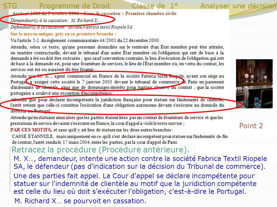 Point 2 Retracez la procédure (Procédure antérieure). M. X…, demandeur, intente une action contre la société Fabrica Textil Riopele SA, le défendeur (