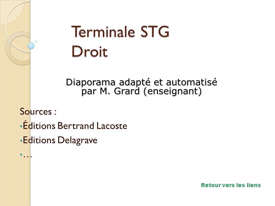 Sources : Éditions Bertrand Lacoste Editions Delagrave … Diaporama adapté et automatisé par M. Grard (enseignant) Terminale STG Droit Retour vers les