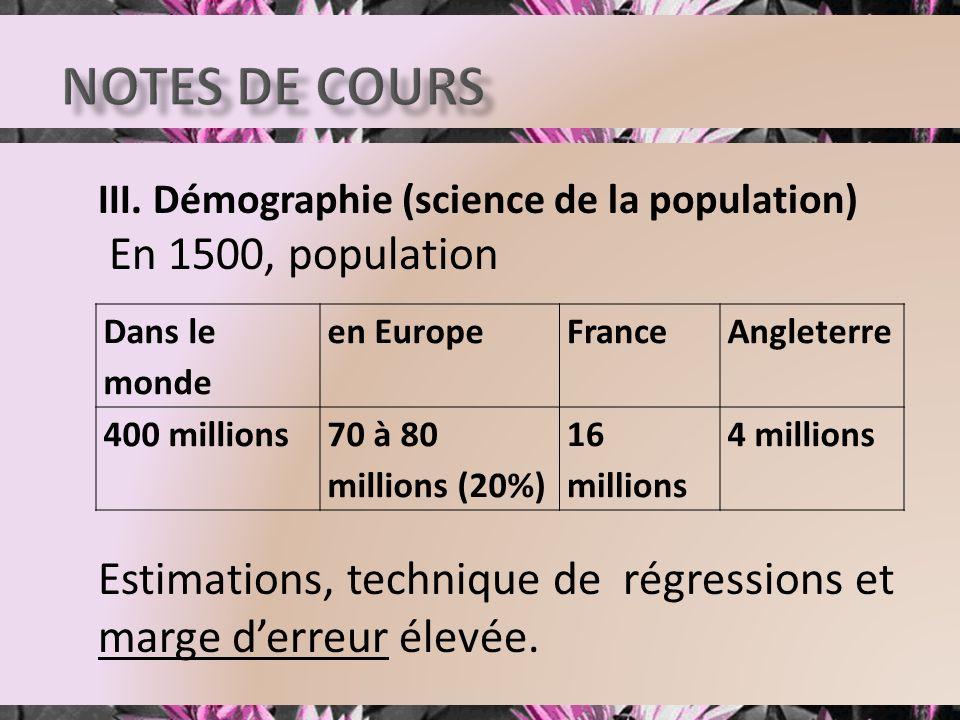 III. Démographie (science de la population) En 1500, population Estimations, technique de régressions et marge derreur élevée. Dans le monde en Europe