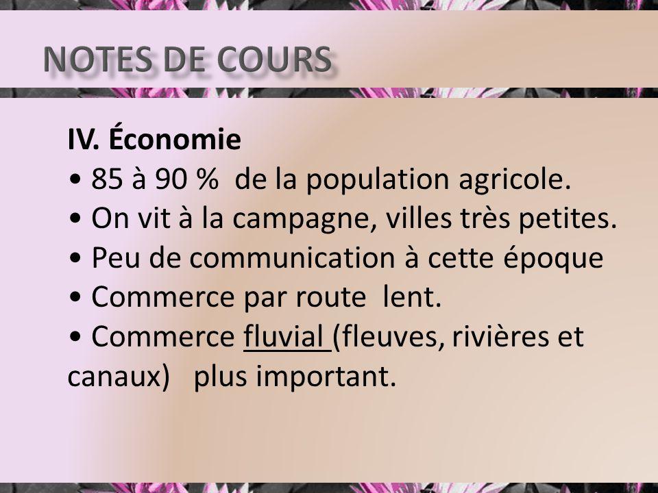 IV. Économie 85 à 90 % de la population agricole. On vit à la campagne, villes très petites. Peu de communication à cette époque Commerce par route le