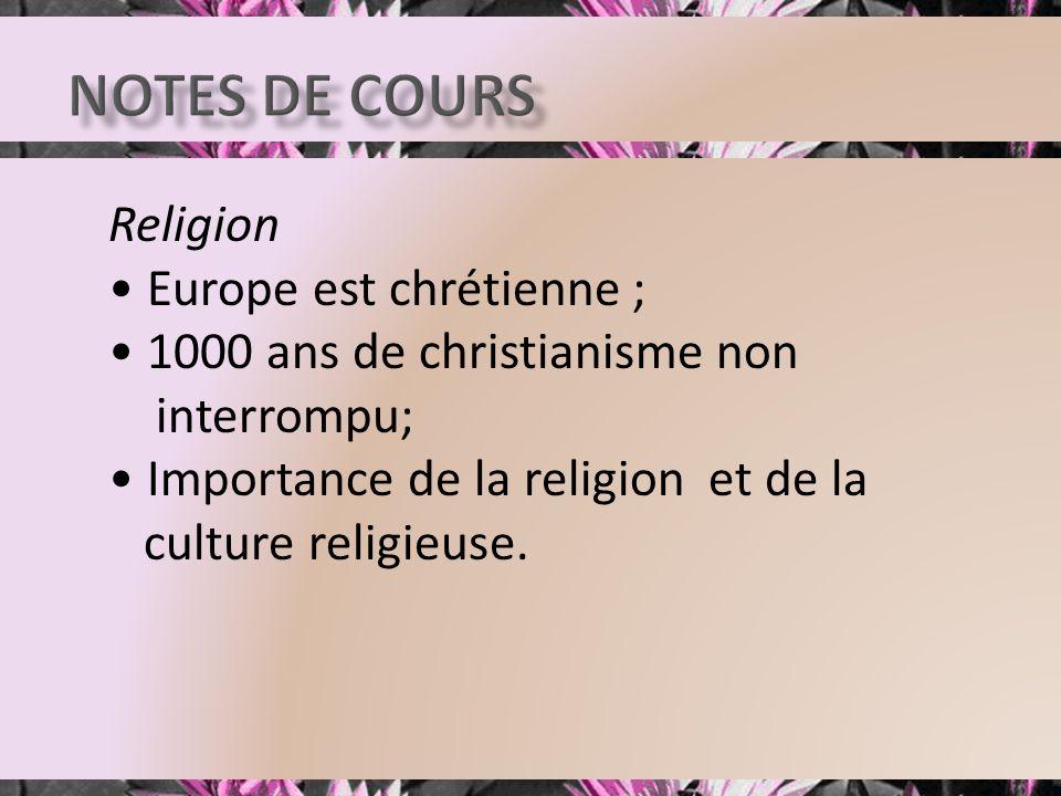 Religion Europe est chrétienne ; 1000 ans de christianisme non interrompu; Importance de la religion et de la culture religieuse.