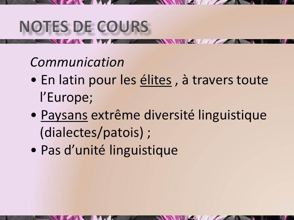 Communication En latin pour les élites, à travers toute lEurope; Paysans extrême diversité linguistique (dialectes/patois) ; Pas dunité linguistique