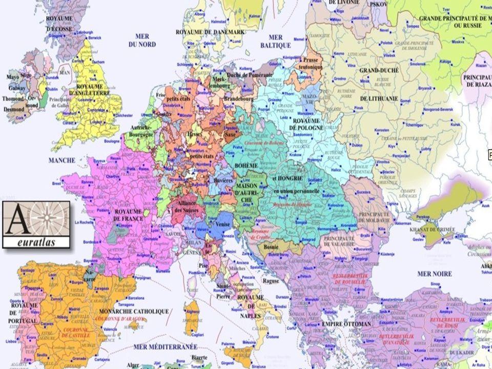 NOTES DE COURS II. Géographie ( voir cartes) Europe limitée au nord par les pays scandinaves au sud par la Crète et la Méditerranée à louest par la co