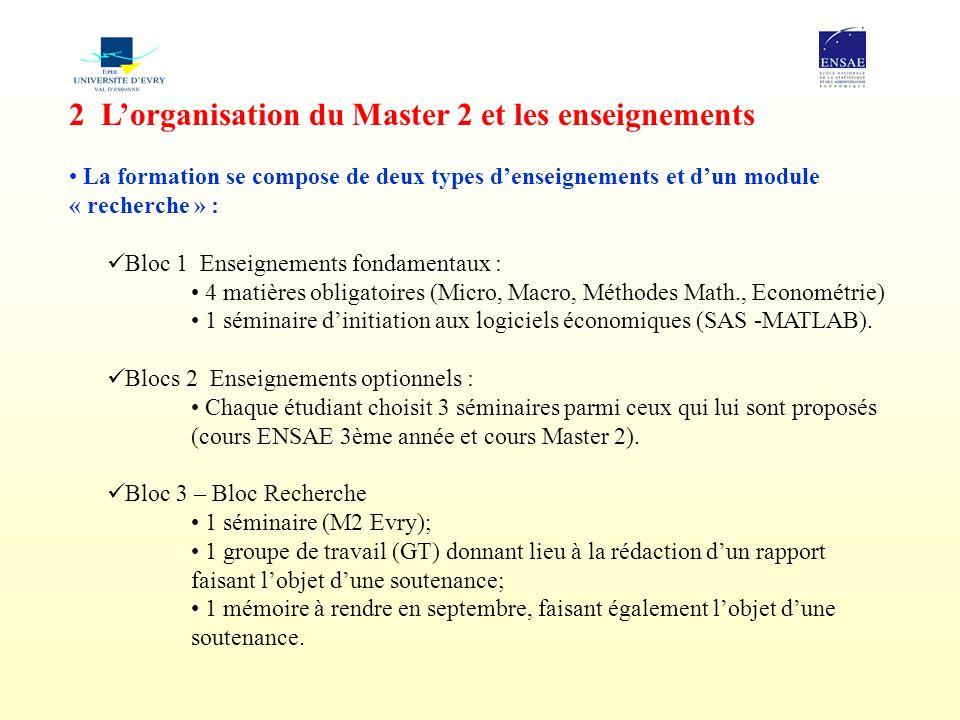 2 Lorganisation du Master 2 et les enseignements La formation se compose de deux types denseignements et dun module « recherche » : Bloc 1  Enseignem