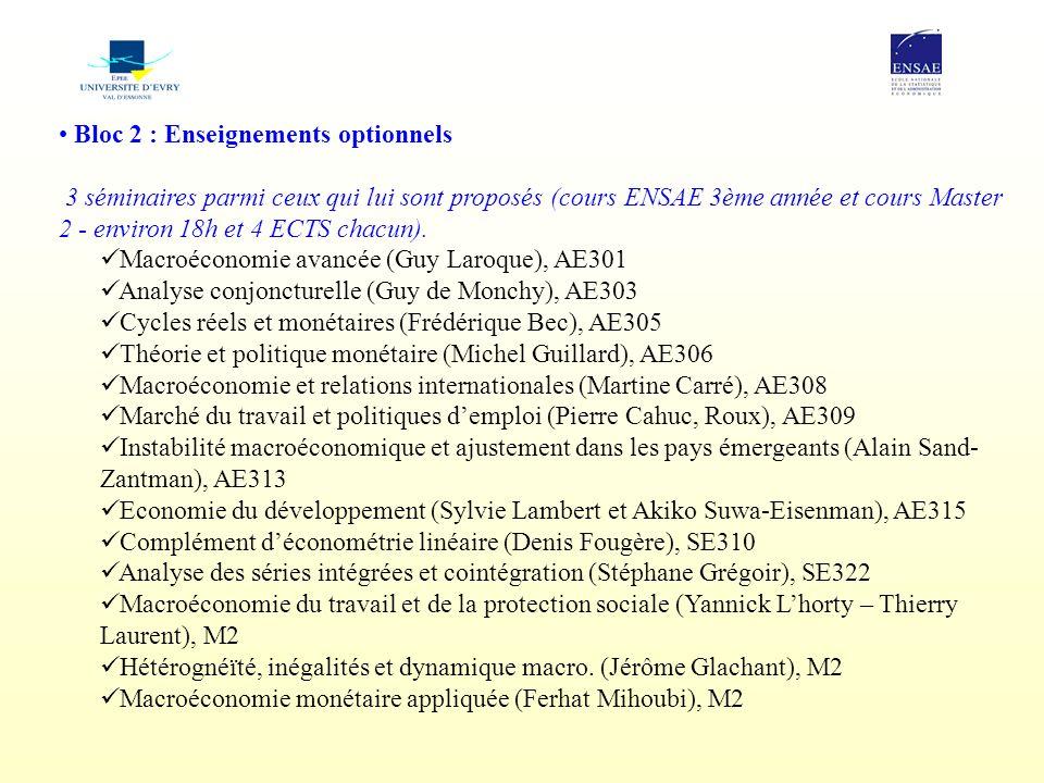 Bloc 2 : Enseignements optionnels  3 séminaires parmi ceux qui lui sont proposés (cours ENSAE 3ème année et cours Master 2 - environ 18h et 4 ECTS ch
