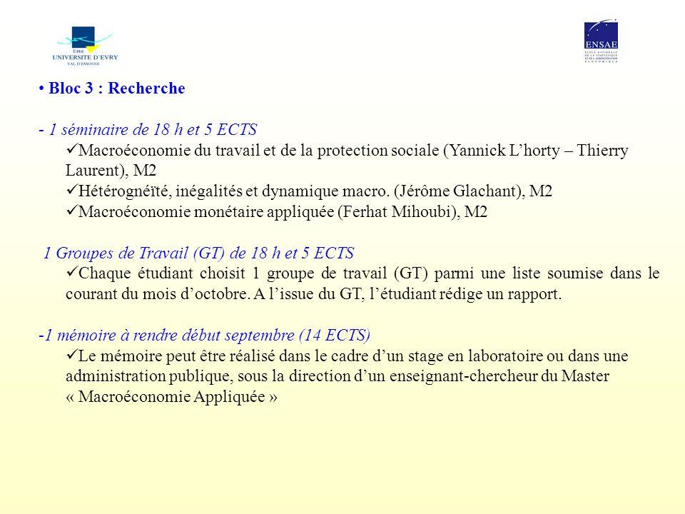Bloc 3 : Recherche - 1 séminaire de 18 h et 5 ECTS Macroéconomie du travail et de la protection sociale (Yannick Lhorty – Thierry Laurent), M2 Hétérog