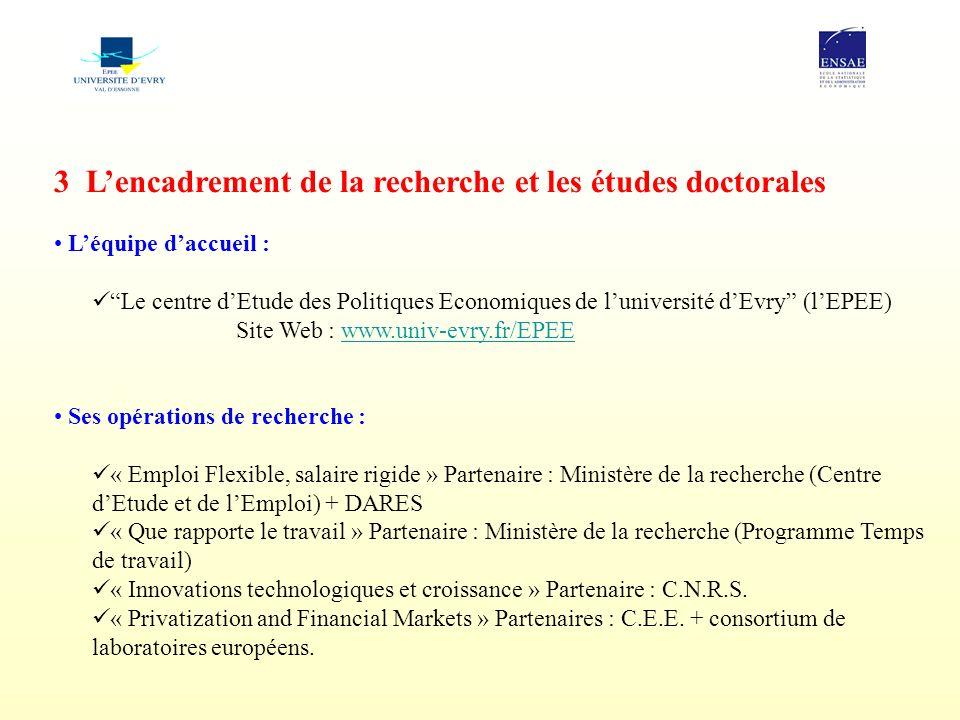 3 Lencadrement de la recherche et les études doctorales Léquipe daccueil : Le centre dEtude des Politiques Economiques de luniversité dEvry (lEPEE) Si