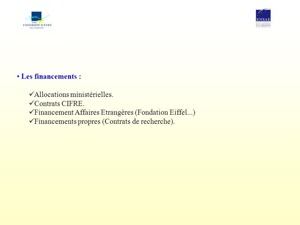 Les financements : Allocations ministérielles. Contrats CIFRE. Financement Affaires Etrangères (Fondation Eiffel...) Financements propres (Contrats de