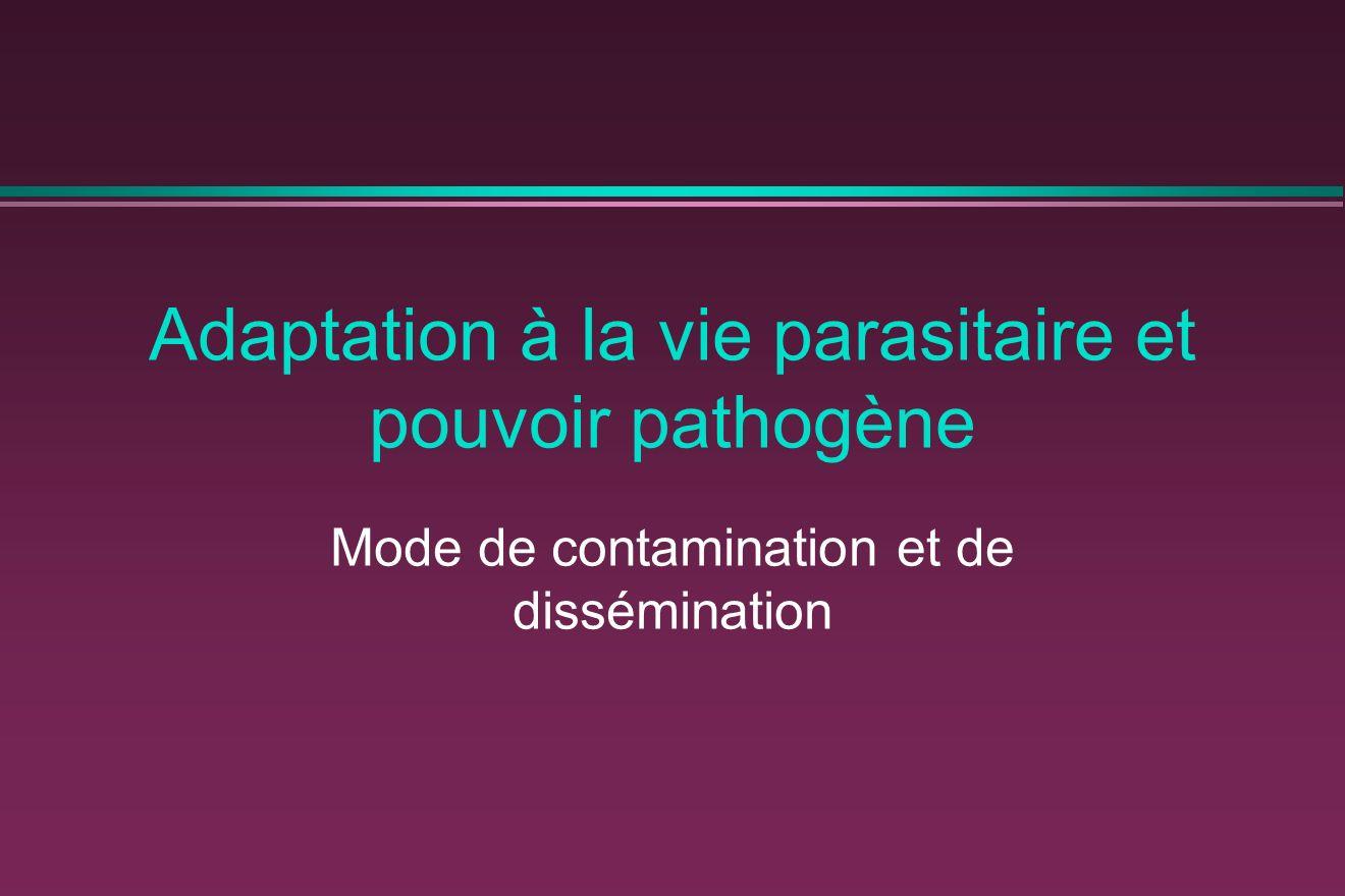 Adaptation à la vie parasitaire et pouvoir pathogène Mode de contamination et de dissémination