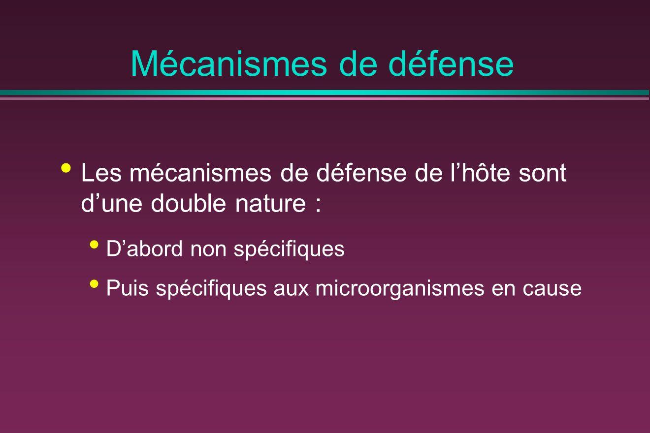 Mécanismes de défense Les mécanismes de défense de lhôte sont dune double nature : Dabord non spécifiques Puis spécifiques aux microorganismes en cause