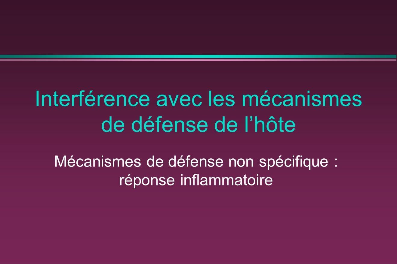 Interférence avec les mécanismes de défense de lhôte Mécanismes de défense non spécifique : réponse inflammatoire