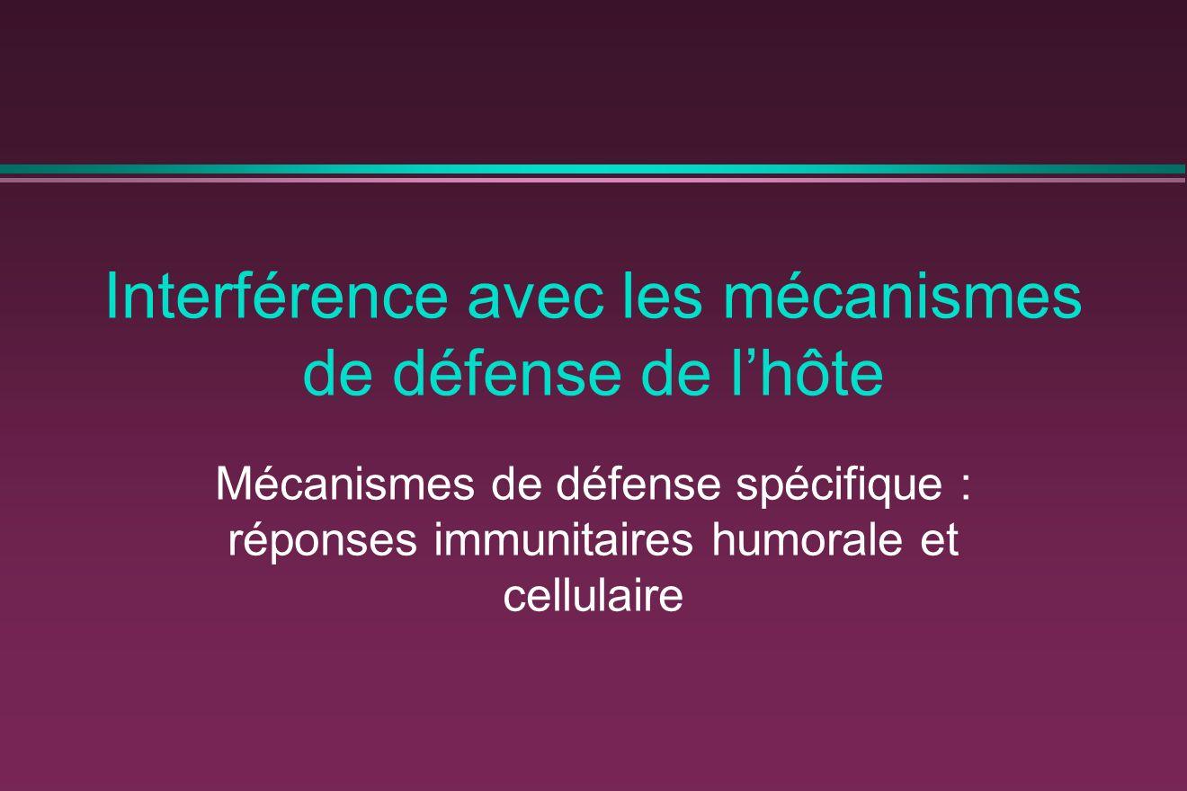 Interférence avec les mécanismes de défense de lhôte Mécanismes de défense spécifique : réponses immunitaires humorale et cellulaire